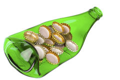 Deformed bottle. With lids isolated on the white background Royalty Free Stock Photos