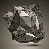 Deformed complicated metallic 3d abstract object. Grayscale asymmetric complex element Royalty Free Stock Image