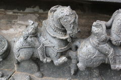Deformed or destroyed wall carving of Hoysaleswara Temple Royalty Free Stock Photo