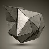 Deformed dimensional facet bronze object, 3d complex design elem Stock Photos