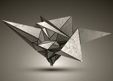 Deformed dimensional sharp grayscale object, 3d Royalty Free Stock Image