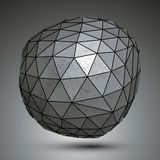 Deformed galvanized 3d abstract object, grayscale asymmetric sph. Erical element Stock Images
