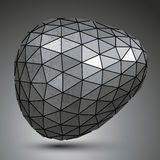 Deformed galvanized 3d abstract object, grayscale asymmetric. Spherical element Stock Photography