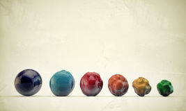 Deformed gumballs. In old grunge photo Royalty Free Stock Images