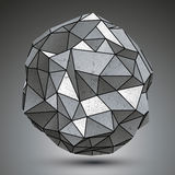 Deformed metallic object created from geometric figures, spatial Royalty Free Stock Image