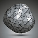 Deformed metallic object created from triangles, spatial geometr Royalty Free Stock Photography