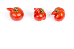 Deformed red tomatoes on a white background Royalty Free Stock Photo