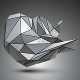 Deformed sharp metallic object created from geometric figures. Contrast futuristic facet element Stock Photography