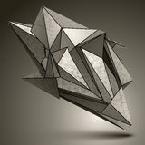 Deformed sharp zink object, contrast cybernetic facet element. Royalty Free Stock Photos