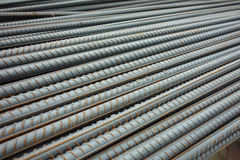 Deformed steel bars. On the construction site Stock Photo