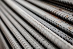 Deformed steel bars metal texture close up. Deformed steel bars for reinforce concrete, metal texture close up Royalty Free Stock Photos