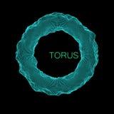 Deformed vector torus. Deformed torus. Element for cyber, digital, science concept design. 3d vector Illustration Stock Photography