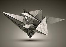 Deformerat dimensionellt skarpt gråtonobjekt, 3d stock illustrationer