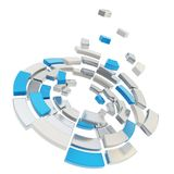 Defragmentation dividido en segmentos redondo de la composición del círculo Foto de archivo libre de regalías
