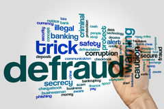 Defraud word cloud concept on grey background Stock Photos