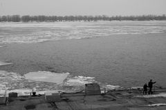 Defrost, Thaw. Russia river. Landscape of the thaw in the Volga Royalty Free Stock Photo