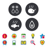Defrosting drop and snowflake. Fish, chicken. Defrosting drop and snowflake icons. Hot fish and chicken signs. From ice to water symbol. Calendar, Information Royalty Free Stock Photo