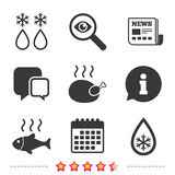 Defrosting drop and snowflake. Fish, chicken. Defrosting drop and snowflake icons. Hot fish and chicken signs. From ice to water symbol. Newspaper, information Stock Image