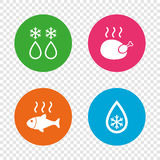 Defrosting drop and snowflake. Fish, chicken. Defrosting drop and snowflake icons. Hot fish and chicken signs. From ice to water symbol. Round buttons on Stock Photo