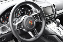 Deggendorf, Germany - 23. APRIL 2016: interior of a 2016 Porsche Cayenne Turbo SUV during the luxury cars presentation in Deggendo Royalty Free Stock Photo