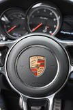 Deggendorf, Germany - 23. APRIL 2016: interior of a 2016 Porsche Cayenne Turbo SUV during the luxury cars presentation in Deggendo. Exclusive black interior of a Royalty Free Stock Photo