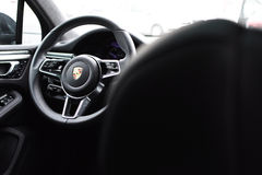 Deggendorf, Germany - 23. APRIL 2016: interior of a 2016 Porsche Macan Turbo SUV during the luxury cars presentation in Deggendorf Stock Photo