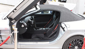 Deggendorf, Germany - 23. APRIL 2016: interior of Silver Mercedes McLaren SLR 722s during the luxury cars presentation in Deggendo. Silver Mercedes McLaren SLR Royalty Free Stock Photography