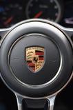 Deggendorf, Niemcy - 23 KWIECIEŃ 2016: wnętrze 2016 Porsche Macan Turbo SUV podczas luksusowej samochód prezentaci w Deggendorf Zdjęcia Stock