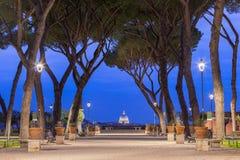 Degli Aranci de Giardino à Rome au coucher du soleil, Italie Photo stock