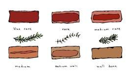 Degré d'icônes de promptitude de bifteck réglées Barbecue de cuisson, menu de BBQ Puits fait, rare et moyen Illustration illustration de vecteur