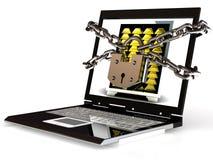 Degré de sécurité de PC. Ordinateur portable avec la chaîne et la serrure. Image libre de droits
