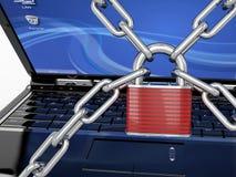 Degré de sécurité de PC. Ordinateur portatif avec le réseau et le blocage illustration stock