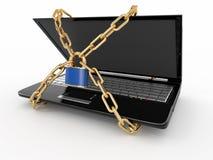 Degré de sécurité de PC. Ordinateur portatif avec le réseau et le blocage Photo stock