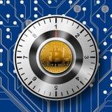 Degré de sécurité du coffre-fort avec Bitcoin d'or sur le fond de modèle de carte illustration stock