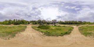 360 degrés de panorama d'une voie de bicyclette à Plovdiv, Bulgarie Images libres de droits