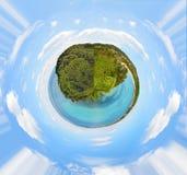 360 degrés de vue panoramique de plage de Lazzaretto Photo stock