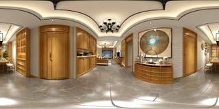 360 degrés intérieur à la maison images stock