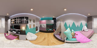 360 degrés sphériques, chambre à coucher sans couture de panorama Images libres de droits