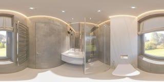 360 degrés sphériques, conception intérieure de salle de bains sans couture de panorama photographie stock