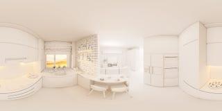 degrés sphériques de l'illustration 3d 360, panorama sans couture de livi Photos libres de droits