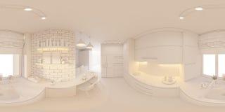 degrés sphériques de l'illustration 3d 360, panorama sans couture de salon Photographie stock libre de droits