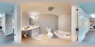 degrés sphériques de l'illustration 3d 360, un panorama sans couture de couloir photos stock