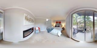 degrés sphériques de l'illustration 3d 360, un panorama sans couture de la chambre à coucher principale photos libres de droits