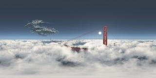 360 degrés sphériques de panorama sans couture avec un vaisseau spatial énorme au-dessus de golden gate bridge illustration stock