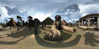360 degrés sphériques, panorama sans couture de sphinx d'archtecture d'Egypte antique et pyramides rendu 3d Photos stock