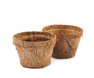 Degradable coconut pot isolated Royalty Free Stock Images