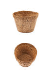 Degradable coconut pot isolated Royalty Free Stock Photography