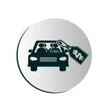 Degrade button with car and price tag. Vector illustration Stock Photos