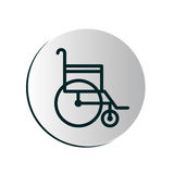 Degraded circular button with wheelchair Stock Image