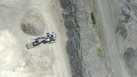 Degraded landscape in south of Poland. Destroyed land. Excavators digger works. View from above. stock video